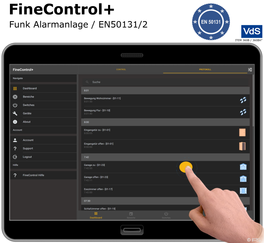 FineControl+ Alarm Tablet