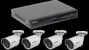 Profi | Kabelloses Überwachungskamera Set mit 4 x Innen- / Außenkameras