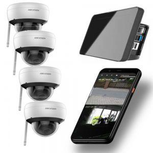 Video Funk NVR Touchscreen |  WIFI Kamera Set mit 4x  Innen- / Aussenkameras Überwachung Aufnahme