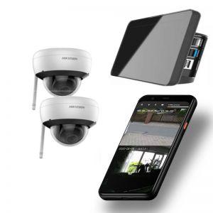 Video Funk NVR Touchscreen |  WIFI Kamera Set mit 2x  Innen- / Aussenkameras Überwachung Aufnahme