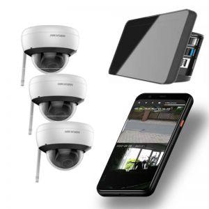 Video Funk NVR Touchscreen |  WIFI Kamera Set mit 3x  Innen- / Aussenkameras Überwachung Aufnahme