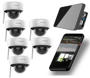 Video Funk NVR Touchscreen |  WIFI Kamera Set mit 6x  Innen- / Aussenkameras Überwachung Aufnahme