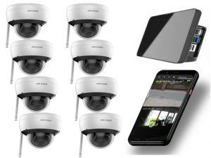 Video Funk NVR Touchscreen |  WIFI Kamera Set mit 8x  Innen- / Aussenkameras Überwachung Aufnahme