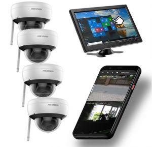 Video Funk NVR  |  WIFI Kamera Set mit 4x  Innen- / Aussenkameras Überwachung Aufnahme